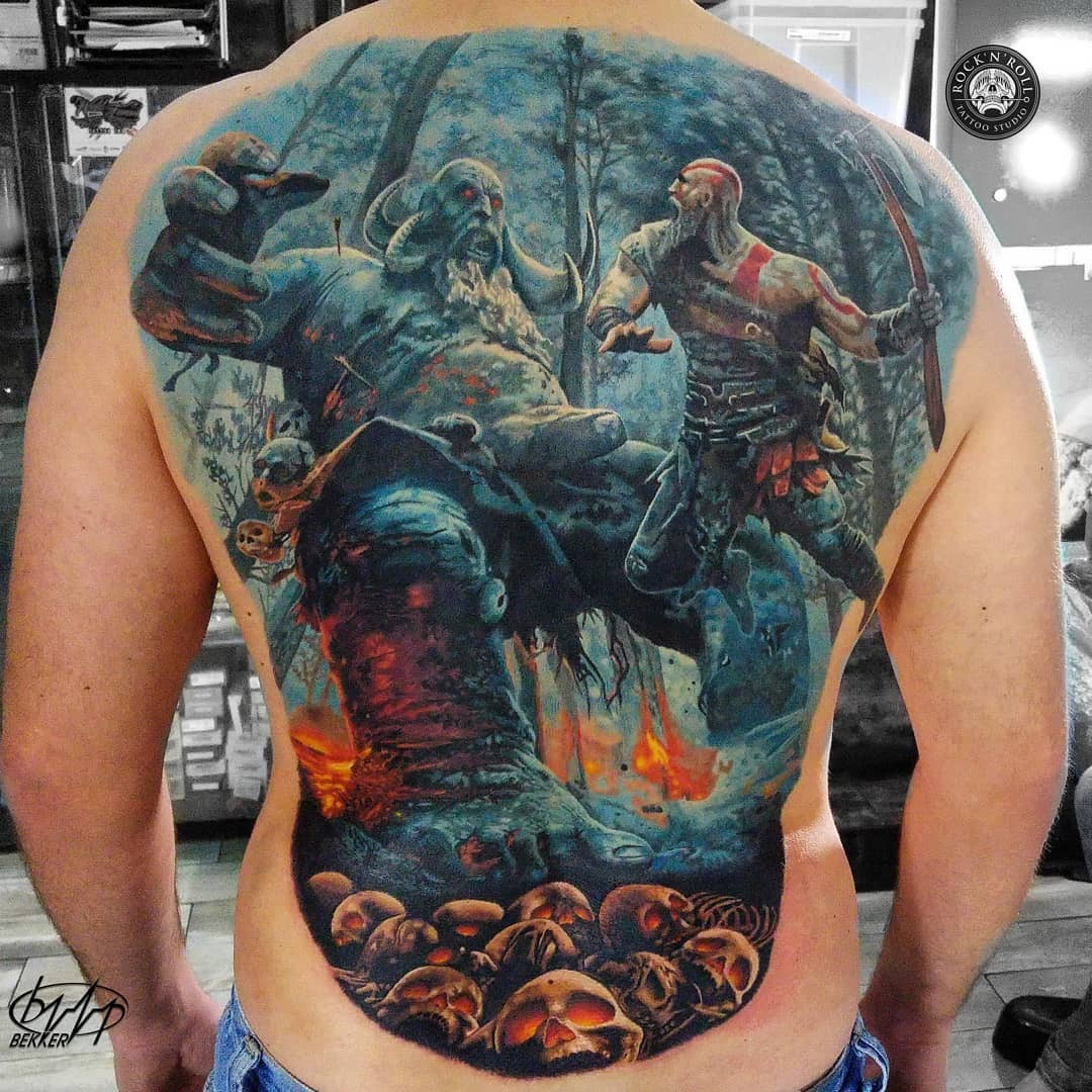 eee4c5df036eb Really love the black & grey half sleeve from Final Fantasy (Vivi Ornitier  and Chocobo), great shading! Done by Carlos Fabra. The God of War back  tattoo is ...