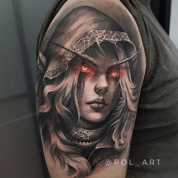 3166a6854ca42 A pop of color in an otherwise black & grey tattoo really appeals to me.  Amazing portrait of Lady Sylvanas from World of Warcraft done by Pol_art.